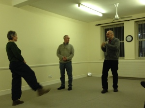 Lawrence teaching the repetion exercise two acting partners on the 6-week Foundations course